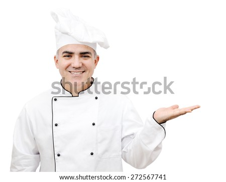 smiling chef holding up hand palm isolated on white background