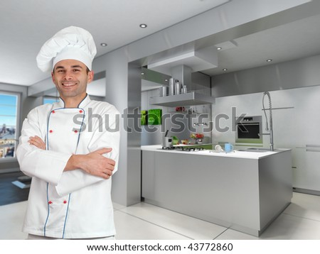 Smiling chef in a modern industrial metallic kitchen - stock photo
