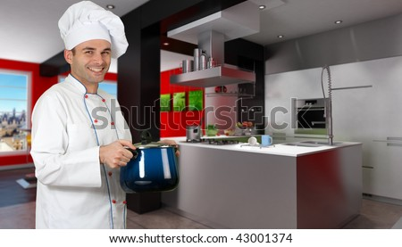 Smiling chef in a modern red and black kitchen