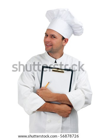 smiling chef in white uniform and hat keeping clipboard