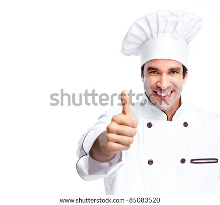 Smiling chef.  Isolated over white background. Gourmet.