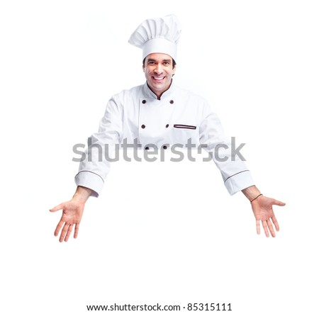 Smiling chef.  Isolated over white background. Gourmet. - stock photo