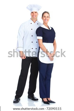 Smiling chef man and a waitress woman. Isolated over white background - stock photo