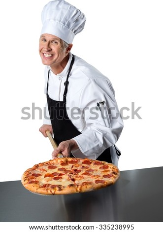 Smiling chef pulled out a whole pepperoni pizza - Isolated