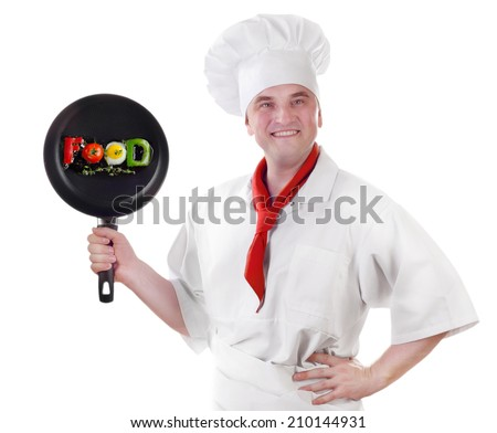 Smiling chef showing pan isolated on white background