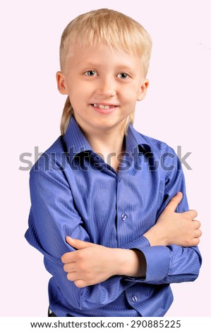 Smiling child boy in business suit - stock photo