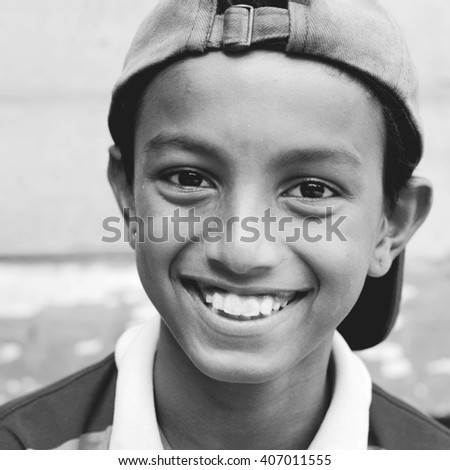 Smiling Child Cap Portrait Young Youth Cheerful Concept - stock photo