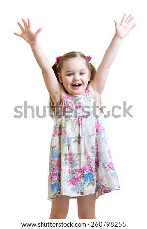 smiling child girl with hands up isolated on white background - stock photo