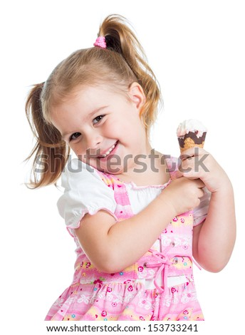 smiling child girl with ice cream isolated - stock photo