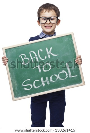 Smiling child with blackboard - stock photo