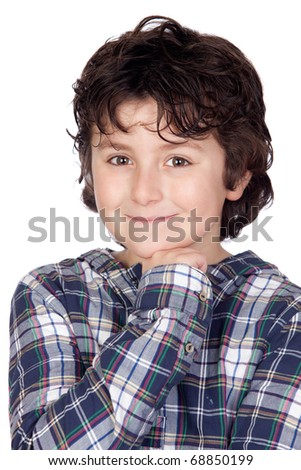 Smiling child with plaid t-shirt isolated on white background