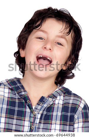 Smiling child without teeth isolated on white background - stock photo