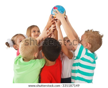 Smiling children from all over the world holding a globe - stock photo