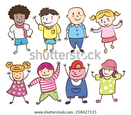 smiling children lined up - stock photo