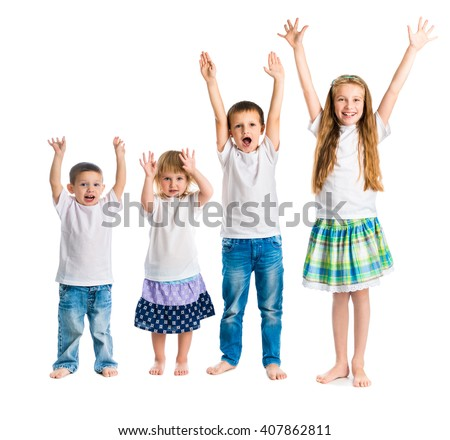 smiling children with arms up isolated on white background - stock photo