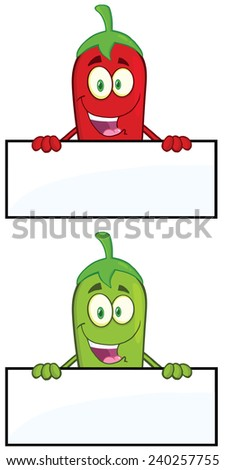 Smiling Chili Pepper Cartoon Mascot Character Over Blank Sign. Raster Collection Set - stock photo