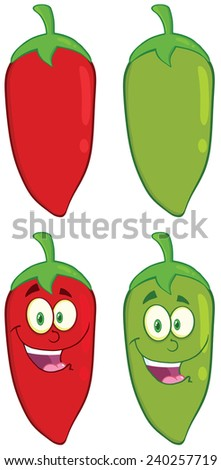 Smiling Chili Pepper Cartoon Mascot Character. Raster Collection Set - stock photo