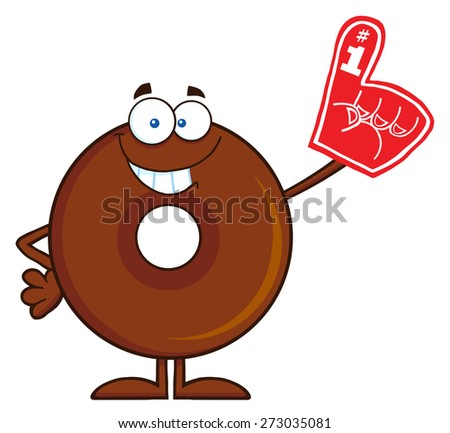 Smiling Chocolate Donut Cartoon Character Wearing A Foam Finger. Raster Illustration Isolated On White - stock photo