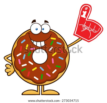 Smiling Chocolate Donut Cartoon Character With Sprinkles Wearing A Foam Finger. Raster Illustration Isolated On White - stock photo