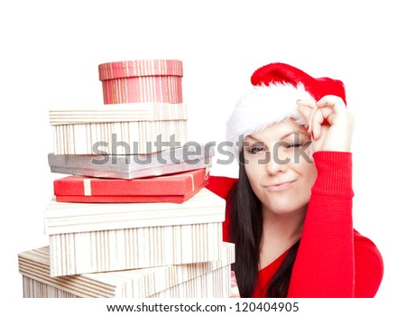 smiling christmas woman holding presents isolated over white background - stock photo
