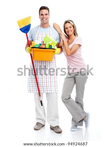 Smiling cleaner man and woman. Isolated over white background.