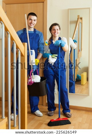 Smiling cleaners team is ready to work