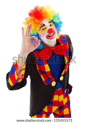Smiling clown showing ok sign with his hand