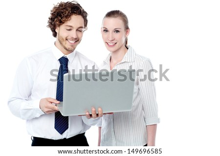 Smiling colleagues with laptop, isolated on white