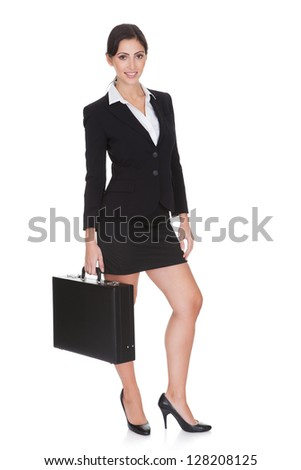 Smiling Confident Businesswoman. Isolated On White Background - stock photo