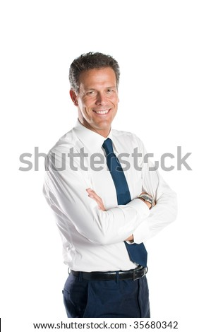 Smiling confident mature businessman looking at camera isolated on white background