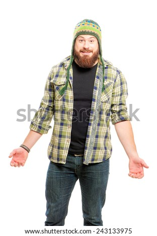 Smiling confused Bearded man in funny winter hat isolated on white background - stock photo