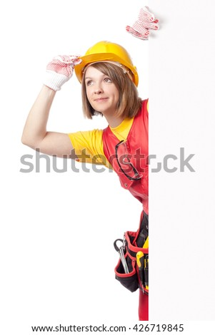 smiling construction female worker looking up and holding blank board with empty copy space for you text isolated on white background. advertisement banner. your text here - stock photo