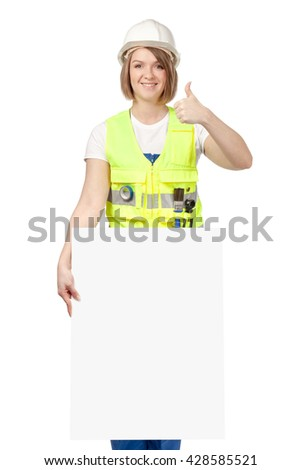 smiling construction female worker showing thumb up gesture and holding blank board with empty copy space for you text isolated on white background. advertisement banner. your text here - stock photo