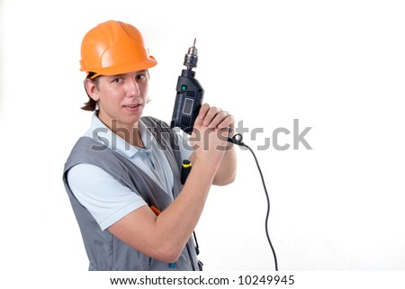 Smiling construction worker hold drill as a gun. Isolated on white.