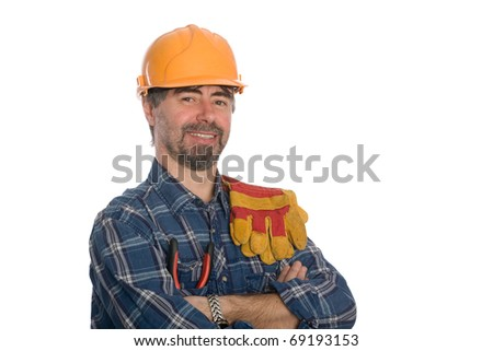 Smiling construction worker. Isolated on white. - stock photo