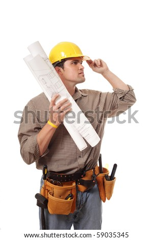 Smiling construction worker looking forward - stock photo