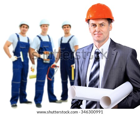Smiling Construction worker man. Architecture background