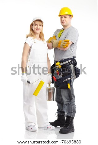 Smiling contractors people. Isolated over white background - stock photo