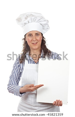 Smiling cook woman holding a white card isolated on white background - stock photo