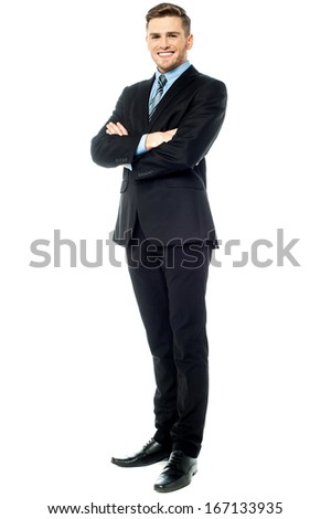 Smiling corporate male in business suit - stock photo