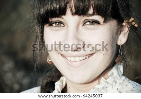 smiling country girl close-up portrait - stock photo