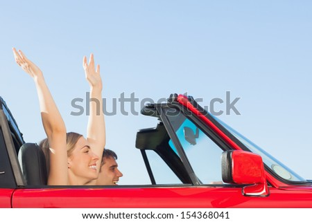 Smiling couple going on holidays together on a sunny day - stock photo