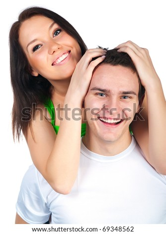 Smiling couple isolated on a white background - stock photo