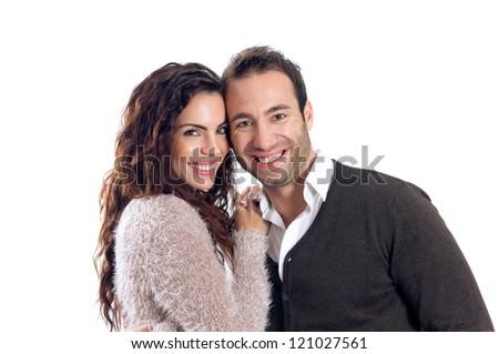 Smiling couple isolated on white background - stock photo