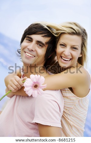 smiling couple on a romantic day out