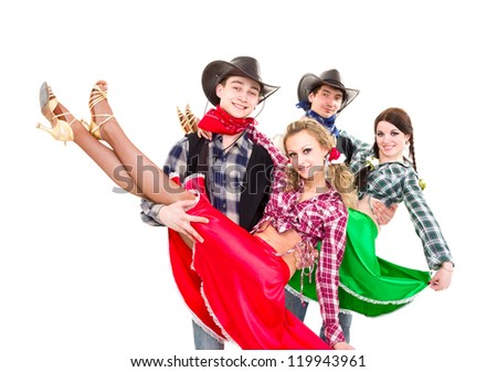 Smiling cowboys and cowgirls dancing against isolated white background - stock photo