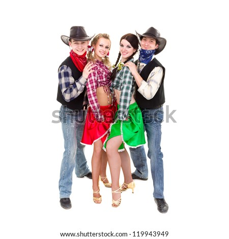 Smiling cowboys and cowgirls posing against isolated white background - stock photo