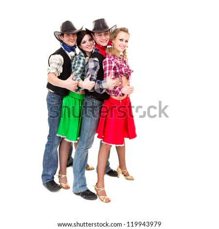 Smiling cowboys and cowgirls with thumbs up gesture, isolated on white background. - stock photo