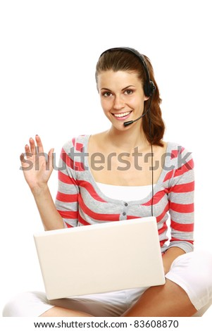 Smiling customer service operator using laptop isolated on white background