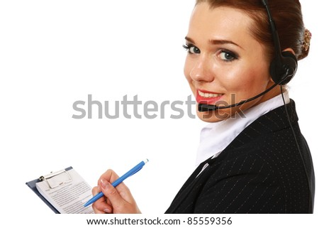Smiling customer service operator with clipboard isolated - stock photo
